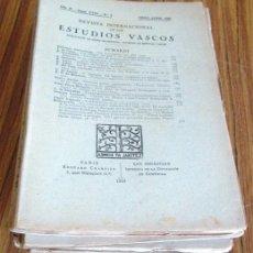 Libros antiguos: REVISTA INTERNACIONAL DE LOS ESTUDIOS VASCOS 13 REVISTAS 1933 – 1934 – 1935 - 1936 . Lote 52616844