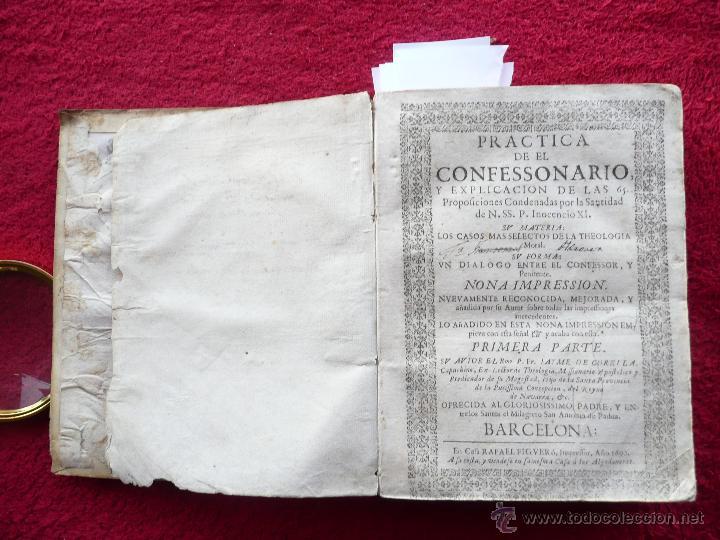 Libros antiguos: PRACTICA DE EL CONFESSONARIO, NONA IMPRESSION, JAYME DE CORELLA, IMPRE. RAFAEL FIGVERO, 1690 - Foto 4 - 52741929