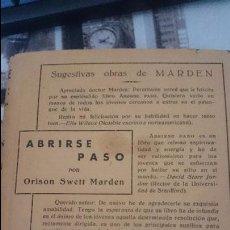 Libros antiguos: ABRIRSE PASO, ORISON SWETT MARDEN, EDICIONES I.R.S.. Lote 52763294
