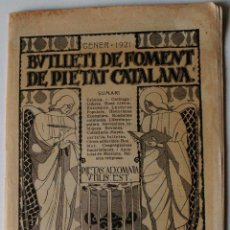 Libros antiguos: BUTLLETI DE FOMENT DE PIETAT CATALANA, GENER DE 1921. Lote 52959499
