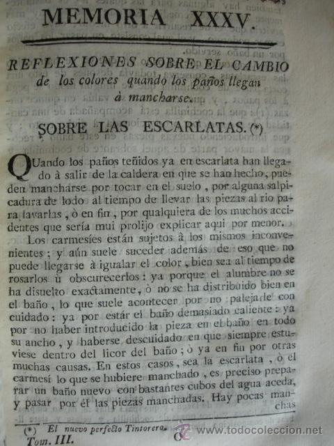 LAS ESCARLATAS.EL NUEVO PERFECTO TINTORERO.TINTES .1778 (Libros Antiguos, Raros y Curiosos - Ciencias, Manuales y Oficios - Otros)