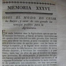 Libros antiguos: SOBRE EL MODO DE CRIAR BUEYES.VETERINARIA .AÑO 1778. Lote 52997449