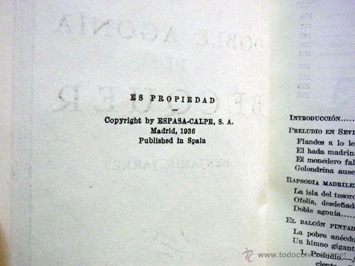 Libros antiguos: LIBRO, DOBLE AGONIA DE BECQUER, BENJAMIN JARNES, ESPASA CALPE, 1ª EDICION, 1936 - Foto 6 - 53004880