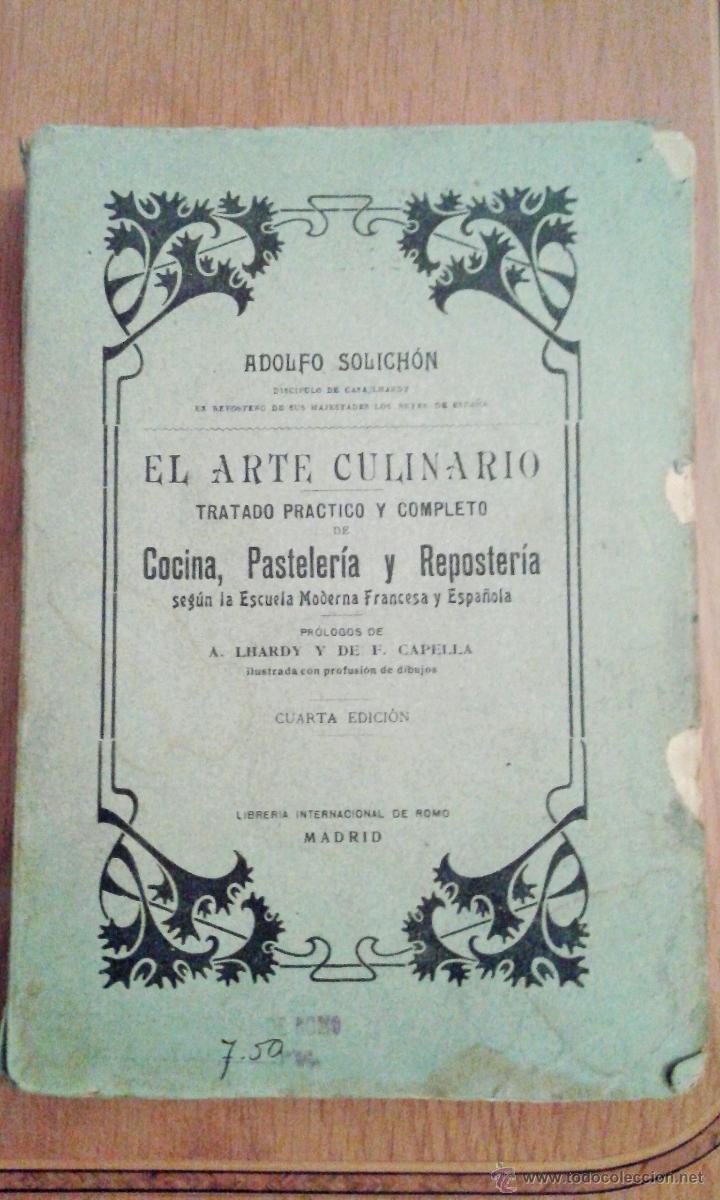 antiguo libro el arte culinario cocina pastel comprar