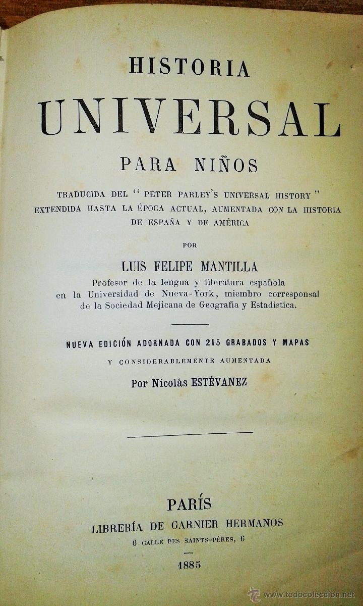 Libros antiguos: ANTIGUO LIBRO HISTORIA UNIVERSAL PARA NIÑOS. MANTILLA. 1885 - Foto 2 - 53147236