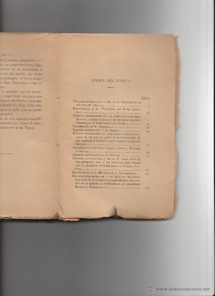 Libros antiguos: Discursos Parlamentarios de Emilio Castelar en la Asamblea Constituyente. Edit.Rivadeneyra. - Foto 2 - 15753426