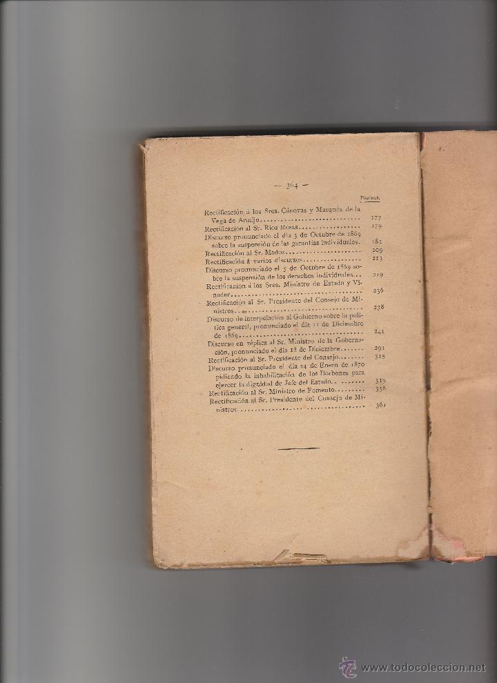 Libros antiguos: Discursos Parlamentarios de Emilio Castelar en la Asamblea Constituyente. Edit.Rivadeneyra. - Foto 3 - 15753426