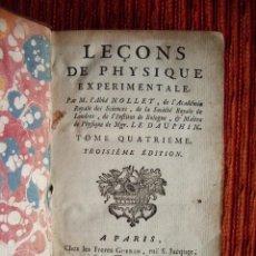 Libros antiguos: 1753-LECCIONES DE FISICA EXPERIMENTAL.JEAN ANTOINE NOLLET.14 GRABADOS NAVARRA.ELECTROSCOPIO.ORIGINAL. Lote 53258580