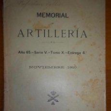 Libros antiguos: MEMORIAL DE ARTILLERÍA. EJERCITO. NOVIEMBRE 1910.. Lote 53421110