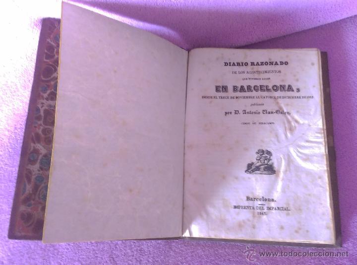 Libros antiguos: DIARIO RAZONADO, ACON. BARCELONA, 13 NOV AL 14 DIC 1842, ANTONIO VAN HALEN 1845 - Foto 2 - 53488639
