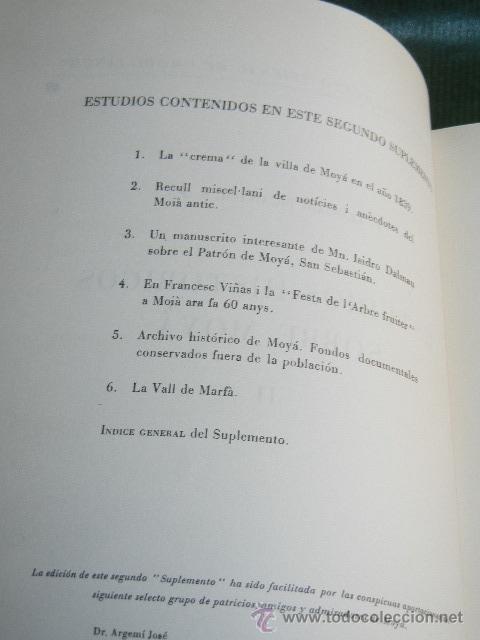 Libros antiguos: ESTUDIOS HISTORICOS SOBRE MOYA (MOIA), SEGUNDO SUPLEMENTO TRIENAL DE MODILIANUM, DE LLOGARI PICANYOL - Foto 2 - 53494528