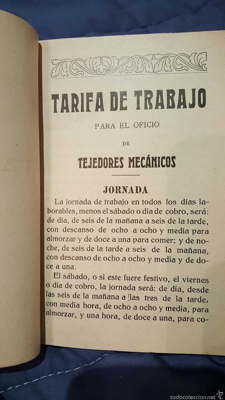 TARIFAS DE TRABAJO PARA TEJEDORES MECÁNICOS. ALCOY, ALICANTE. 1915. RARO!! (Libros Antiguos, Raros y Curiosos - Ciencias, Manuales y Oficios - Otros)