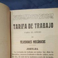 Libros antiguos: TARIFAS DE TRABAJO PARA TEJEDORES MECÁNICOS. ALCOY, ALICANTE. 1915. RARO!!. Lote 53497627