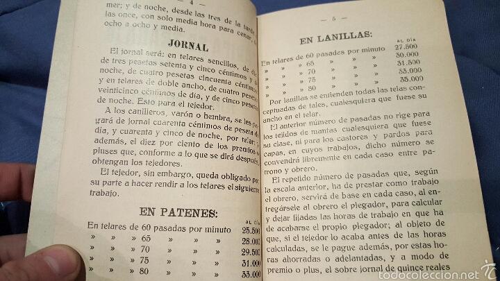 Libros antiguos: Tarifas de trabajo para tejedores mecánicos. Alcoy, Alicante. 1915. Raro!! - Foto 3 - 53497627