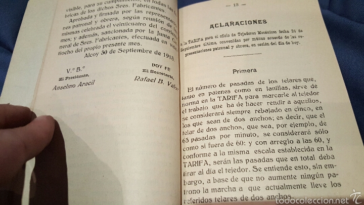 Libros antiguos: Tarifas de trabajo para tejedores mecánicos. Alcoy, Alicante. 1915. Raro!! - Foto 4 - 53497627