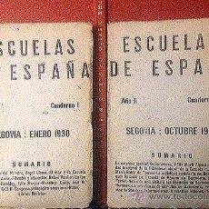 Libros antiguos: SEGOVIA. 1930. ESCUELAS DE ESPAÑA 2 CUADERNOS (ENERO, OCTUBRE). Lote 53504759