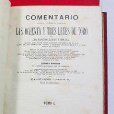 Libros antiguos: LAS 83 LEYES DE TORO, JOSÉ VICENTE Y CARAVANTES, 2 TOMOS, AÑO 1875. MADRID. 16X24CM.. Lote 53526415