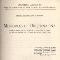 Libros antiguos: PEDRO URQUINAONA Y PARDO. MEMORIAS DE URQUINAONA. MADRID, C.1919. AMERICA. Lote 53689951