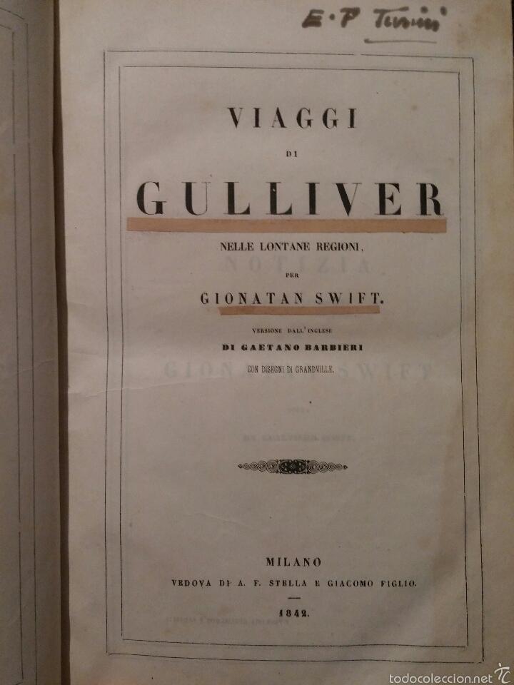 VIAJES DE GULLIVER - GIONATAN SWIFT - 1842 - MILAN - ITALIANO - 328 (Libros antiguos (hasta 1936), raros y curiosos - Literatura - Narrativa - Otros)