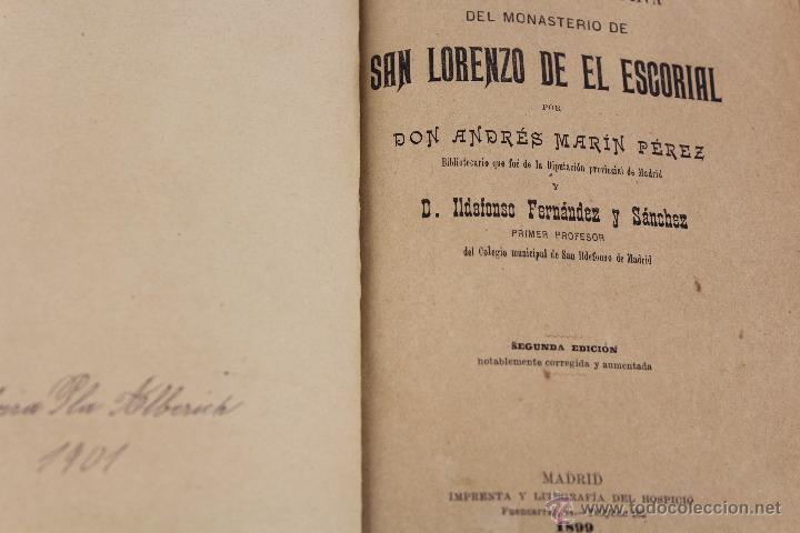 Libros antiguos: L-3085 GUIA DEL MONASTERIO DE SAN LORENZO DE EL ESCORIAL. IMPR. DEL HOSPICIO 1899 - Foto 2 - 54193383