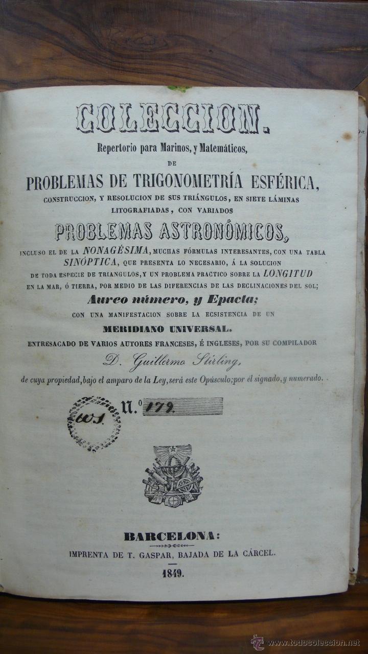 COLECCIÓN REPERTORIO PARA MARINOS, Y MATEMÁTICOS, DE PROBLEMAS DE TRIGONOMETRIA ESFÉRICA. 1849. (Libros Antiguos, Raros y Curiosos - Ciencias, Manuales y Oficios - Otros)