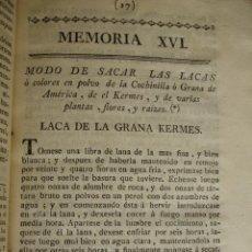 Libros antiguos: METODO PARA SACAR LACAS O COLORES DE LA COCHINILLA LACA DE LA GRANA KERPES.NERI Y KUNCKEL.1778.TINTE. Lote 54404042