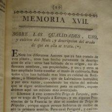 Libros antiguos: CUALIDADES USO Y CULTIVO DEL MAIZ. MADRID 1778. Lote 54404163