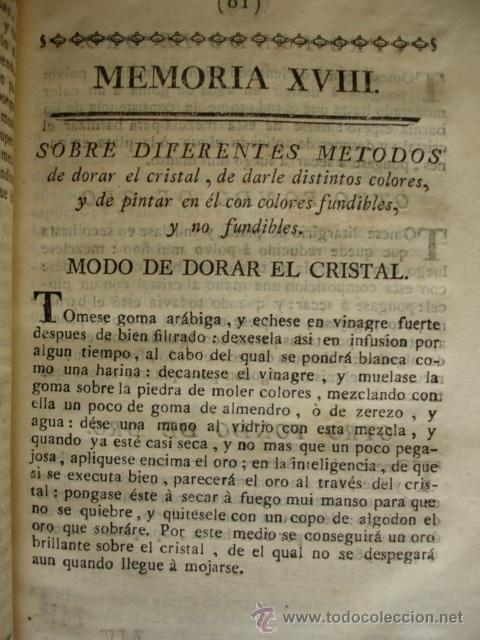 DORAR CRISTALES DARLE COLORES Y PINTARLOS . MADRID 1778 (Libros Antiguos, Raros y Curiosos - Ciencias, Manuales y Oficios - Otros)