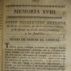 Libros antiguos: DORAR CRISTALES DARLE COLORES Y PINTARLOS . MADRID 1778. Lote 54404232
