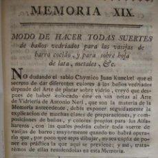 Libros antiguos: BAÑOS VIDRIADOS SOBRE VASIJAS DE BARRO COCIDO, LATA Y METAL . MADRID 1778.CERAMICA . Lote 54404341