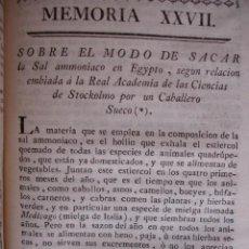 Libros antiguos: MODO DE SACRA LA SAL DE AMONIACO EN EGIPTO.HASSELQUIST .MADRID 1778. . Lote 54405105