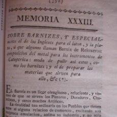 Libros antiguos: MODO DE HACER BARNIZ INGLES PARA EL LATON Y BARNIZ DE RELOJERO DORADORES CHAROLISTAS .MADRID 1778. . Lote 54405206