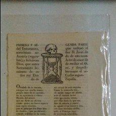 Libros antiguos: TESTAMENTO D. JUAN HIZO DE AUSTRIA.S. XVIII BARCELONA. Lote 54603194