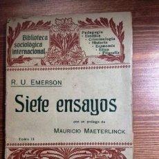 Libros antiguos: SIETE ENSAYOS. 1904 EMERSON, R.W. 2 VOLS. TOMO I Y II. Lote 54656145