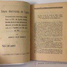 Libros antiguos: ARIZ GORRIZ : LEYES ELECTORALES. (HASTA DECRETO DE LA REPÚBLICA. 1933). Lote 54671349