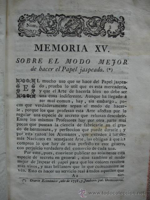 MODO DE HACER EL PAPEL JASPEADO.1778.FAUBERT (Libros Antiguos, Raros y Curiosos - Ciencias, Manuales y Oficios - Otros)