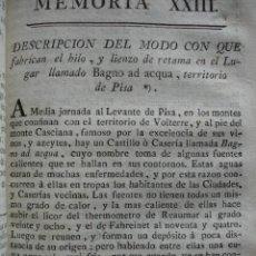 Libros antiguos: MODO DE FABRICAR HILO Y LIENZO .1778.. Lote 54688681