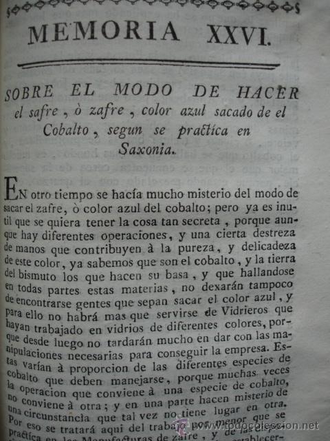 MODO DE HACER SAFRE O ZAFRE DEL COBALTO .1778. (Libros Antiguos, Raros y Curiosos - Ciencias, Manuales y Oficios - Otros)