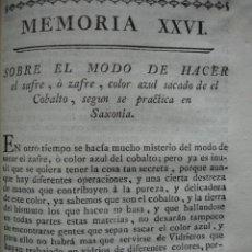 Libros antiguos: MODO DE HACER SAFRE O ZAFRE DEL COBALTO .1778.. Lote 54688700