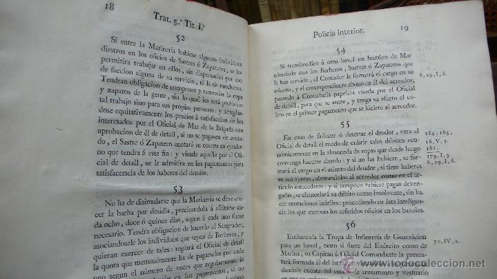 Libros antiguos: ORDENANZAS GENERALES DE LA ARMADA NAVAL. Parte primera. Tomo II. [MAZARREDO, José de.] 1793. - Foto 4 - 54785533