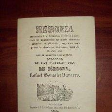 Libros antiguos: GONZÁLEZ NAVARRO, RAFAEL. MEMORIA PRESENTADA A LA ACADEMIA LITERARIA I CIENTIFICA DE INSTRUCCIÓN.... Lote 54843921