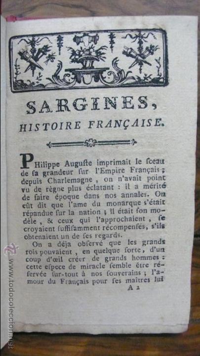 SARGINES, HISTOIRE FRANÇAISE. M. D'ARNAUD. C. 1770. (Libros Antiguos, Raros y Curiosos - Historia - Otros)