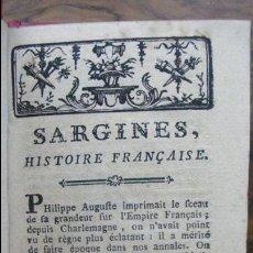 Libros antiguos: SARGINES, HISTOIRE FRANÇAISE. M. D'ARNAUD. C. 1770. . Lote 54909587