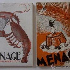 Libros antiguos: MENAGE: NOVIEMBRE DE 1933 Y MARZO DE 1934. Lote 55080814