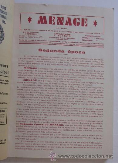 Libros antiguos: MENAGE: NOVIEMBRE DE 1933 Y MARZO DE 1934 - Foto 3 - 55080814