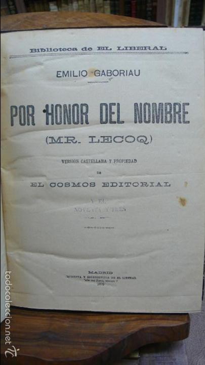 POR HONOR DEL NOMBRE EMILIO-GABORIAU Y NOVENTA Y TRES DE VÍCTOR HUGO. 2 OBRAS. 1894-95. (Libros antiguos (hasta 1936), raros y curiosos - Literatura - Narrativa - Otros)