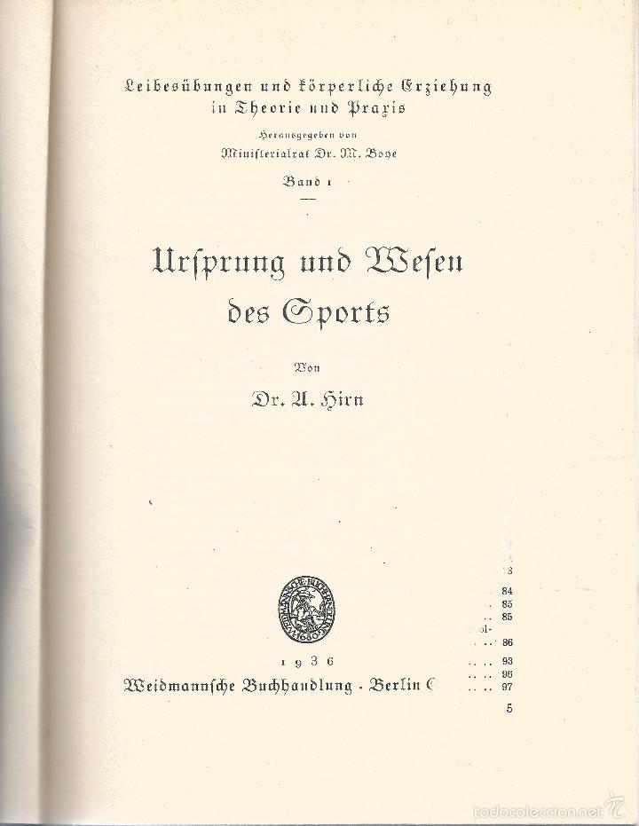 Libros antiguos: origen y el comienzo de los deportes - urfprung und befen des sports - Berlin 1936 - Foto 2 - 55310216