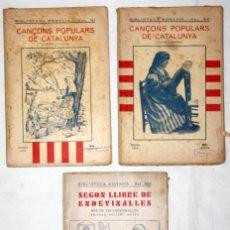 Libros antiguos: COLECCIÓN 3 CUADERNS 1935BIBLIOTECA BONAVIA CANÇONS POP. CATALUNYA (2) I 2ON LLIBRE D'ENDEVINALLLES. Lote 55387652