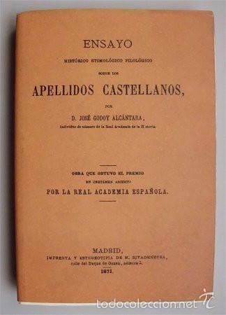 ENSAYO SOBRE LOS APELLIDOS CASTELLANOS (MADRID - 1871) EDICIÓN FACSÍMIL (Libros Antiguos, Raros y Curiosos - Ciencias, Manuales y Oficios - Otros)