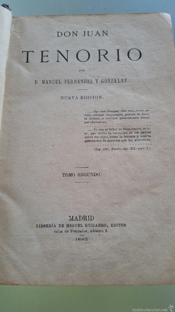 Libros antiguos: DON JUAN TENORIO - TOMO I y II- 1883 - 22CM X 15´5CM - 2 LAMINAS DE DIBUJO A COLOR - Foto 9 - 53885649
